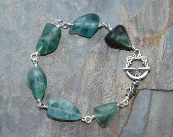 Fluorite Bracelet, Blue Bracelet, Natural Stone Bracelet, Aqua Blue Bracelet, Handmade Bracelet, Raw Stone Bracelet, Beaded Bracelet