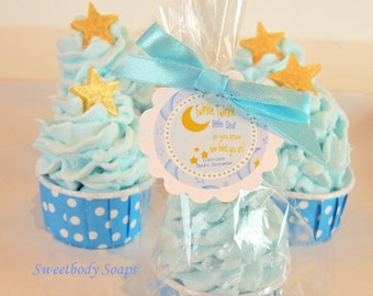 Set of 10 Twinkle Twinkle Star Bubble Bath Cupcake Party Favors with custom tags Baby Boy Shower Baby Girl Shower