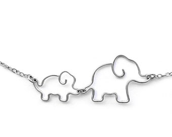 Elephant Necklace - New Mother Gift, Mom Jewelry, Mother and Baby Elephant Necklace, Elephant Jewelry