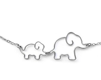 Elephant Necklace - Mom Jewelry, Mother and Baby Elephant Necklace - Mommy and Baby Elephant Jewelry, New Mother Gift