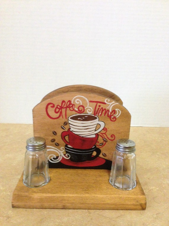 Napkin Holder, Napkin/salt and pepper holder, Coffee Decor, Coffee Kitchen Decor, Coffee Lovers Gift, Gift for coffee lovers, Coffee Kitchen