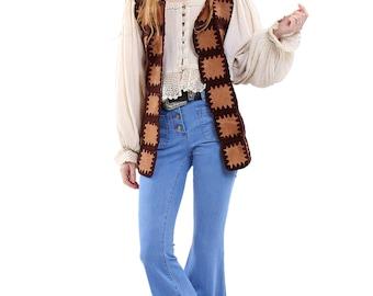 Vintage 70s Brown Patchwork Crochet Leather Vest S/M