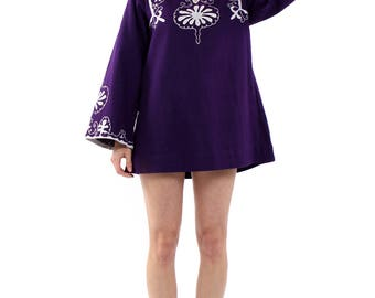 Vintage 70s Purple Embroidered Indian Kaftan Dress M
