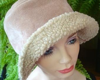 womens Vintage hat bucket hat cotton suede with sheepskin lining winter hat womens hats