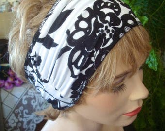 Womens Headband black and white supersoft viscose Head Wrap Comfortable wide Stretch adult Headwrap