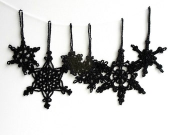 black christmas tree ornaments gothic holiday ornaments crochet snowflakes decorations goth christmas decorations - Black Christmas Tree Ornaments