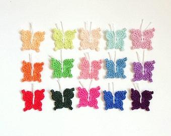 Butterflies applique - crochet butterflies decorations - spring applique - kids birthday party decorations - colorful - set of 15 ~1.2 inch