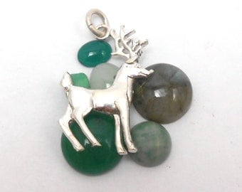 Reindeer Deer Antler Rudolph Hunter Buck Sterling Silver Pendant Necklace Charm
