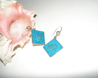"""Turquoise """"God's Eye"""" Earrings Taxco Sterling Silver Tribal inlaid Dangles- Vintage Pierced Beauties -Gift Boxed"""