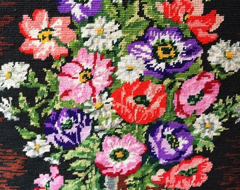 Beautiful Large Vintage Needlepoint-Bright Vivid Colors-Anemones-Blocked and Ready to Frame