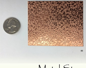 "Textured Copper Flower Pattern 24 gauge Sheet Metal 2.5"" x 3"" - Solid Copper - Great for Jewelry Making 86"
