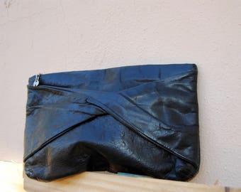Vintage Black Leather Feel Clutch