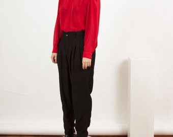 Silky Stripped Blouse / Red Pinstripped Button Up / Long Sleeve Delicate Blouse