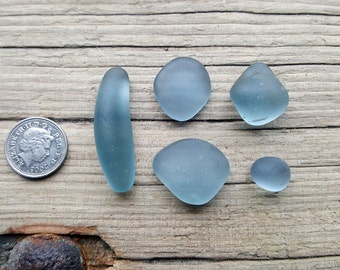 BLUE GREY SET - Seaham Beach Glass - End of Day English Sea Glass (6125)
