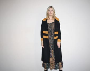 Flapper 30s Style Vintage 1960s Mod Brown and Black  Long Wool Cardigan Coat - 1960s Mod Jacket - W00720