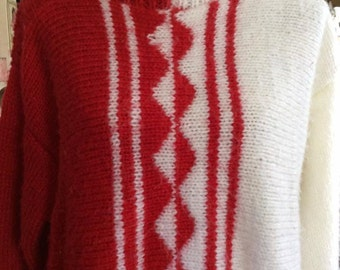 Vintage 1980s Sweater Red White Pullover Op Art Mirrored Design Oversized OS Knit
