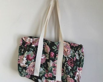 vintage canvas duffle bag  - MIDNIGHT GARDEN floral overnight bag