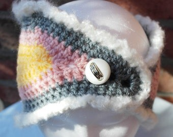 Pink, Yellow, White and Grey Wide Headband/ Ear Warmers