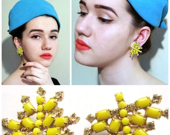 Vintage 1960s Yellow Enamel and Rhinestone Earrings / 60s Sparkly Clip-Ons Signed Kramer