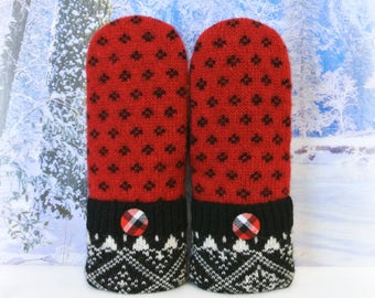 Red Black & White 100% Wool Nordic Style Women's Recycled Sweater Mittens
