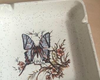 70s butterfly design ceramic Treasure Craft vintage 1970s ashtray folk hippie indie kitsch present gift smoker smoking house tray