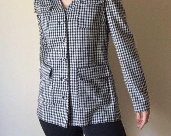 gingham plaid polyester button up long blazer coat office wear era 80s vintage new wave preppy hipster self covered button black and white M