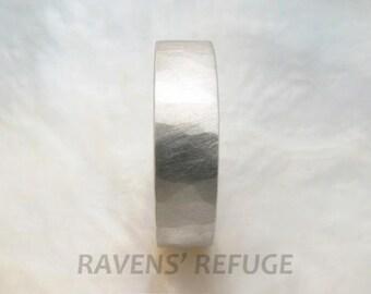 handmade platinum wedding band -- mens wedding band -- 6mm wide textured ring, comfort fit