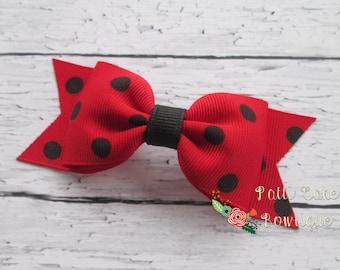 Ladybug Hair Bow/Ladybug Birthday Barrette/Hairbows for Fine Thin Hair/Non-Slip Hairclips for Pigtails/1st Birthday Ladybug Hair Clip