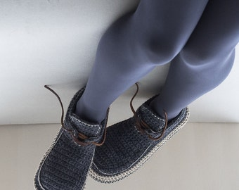 House Shoes Slippers with Leather Sole in dark grey with cream trim - all adult shoe sizes US 4-12 EUR 35-46