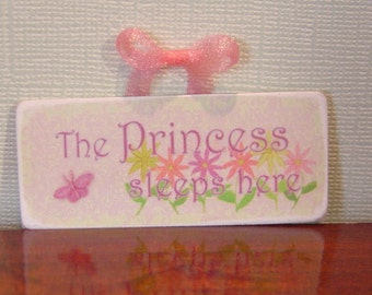 Miniature Dollhouse Princess Sleeps Here Sign One Inch Scale 1:12