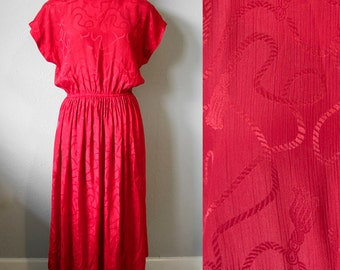 Red 80s Secretary Dress Cap Sleeve Rope Pattern Womens Size 10