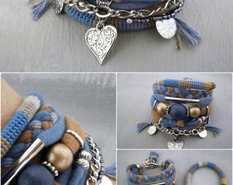Blue and Brown Bohemian Bracelet, Gypsy Bracelet, Heart Charm Multistrand Bracelet Hippie Style, Boho Bracelets Stack, Gypsy Jewelry