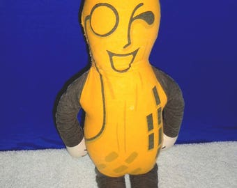 Vintage 1967 Mr. Peanut Advertising Collectible Large Cloth Lithographed Novelty Doll - Great Dorm Room Decorating Essential!