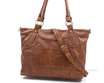 Antic Tan Leather Tote Leather Bag, Leather Handbag, Leather Shoulder Bag Leather Crossbody Bag Nora Bis XL fits a 15inches-17inches laptop!