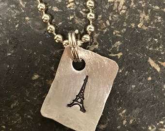 PRIORITY SHIPPING Tiny Hand Cut Metal Stamped Paris Eiffel Tower Pendant Charm