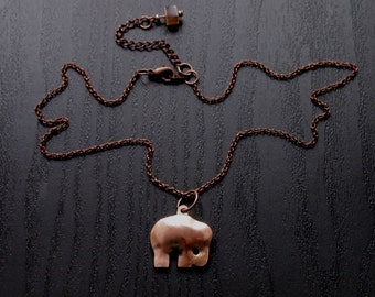 little copper elephant necklace on thin chain