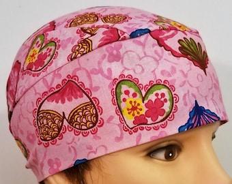 Handmade Pink w Multi Colored Hearts Chemo Cap, Skull Cap, Hat, Motorcycle, Surgical, Valentine's, Head Wrap, Do Rag, Helmet Liner, Alopecia