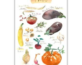 Fall Vegetable Print 4x6 Print Seasonal Vegetable Poster Kitchen Art Eat Veggies