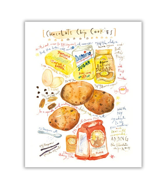 Chocolate chip cookie recipe print, Kitchen art, Bakery poster, Kitchen decor, Watercolor cookie painting, Cake art, Food illustration print