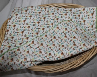 I Love Grandma Flannel Swaddle Blanket