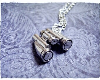 Silver Movable Binoculars Necklace - Antique Pewter Binoculars Charm on a Delicate Silver Plated Cable Chain or Charm Only
