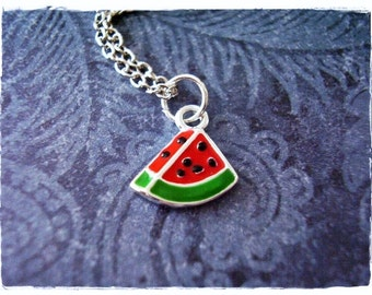 Tiny Watermelon Slice Necklace - Red Enameled Silver Watermelon Slice Charm on a Delicate Silver Plated Cable Chain or Charm Only