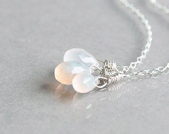 Pink Chalcedony Necklace, Small Pink Stone Teardrop Cluster Necklace on Sterling Silver Chain, Light Pink Necklace, Dainty Jewelry