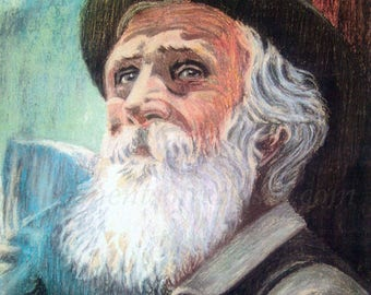 Art print of John Muir- from oil pastel- 8 x 10 matted OR 11 x 14 without mat