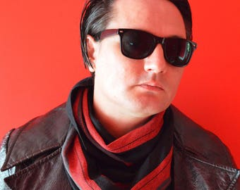 MADE TO ORDER - Handwoven Cotton Loop Scarf - Red, Grey + Black