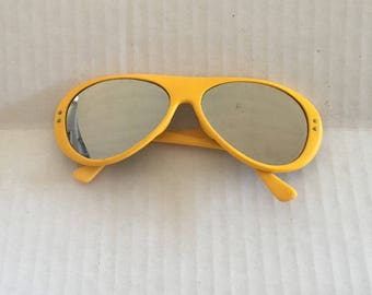 Bright Yellow Mirrored Lens Sunglasses 70s Vintage Plastic Oval Aviator Eyeglasses Frames Japan Ski Sport 58 16 128