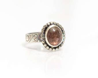 Pink Tourmaline Stone Ring in Sterling Silver Size 7.5