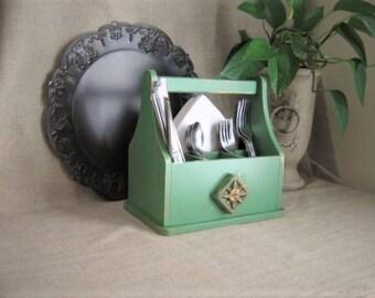 Farmhouse Chic Jade Green Utensil/Napkin Caddy / Napkin Holder / Kitchen Storage & Organization Silverware Storage Jade Green Utensil Caddy