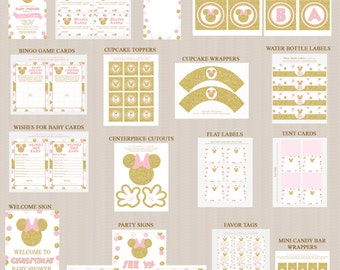 Minnie Mouse Baby Shower Printables, Printable Minnie Mouse Decorations, Gold Glitter and Pink, Polka Dots, Printable PDFs