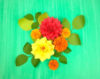 Paper Flower in a Box - DIY - Mix  Paper Flowers - set of 6 with leaves